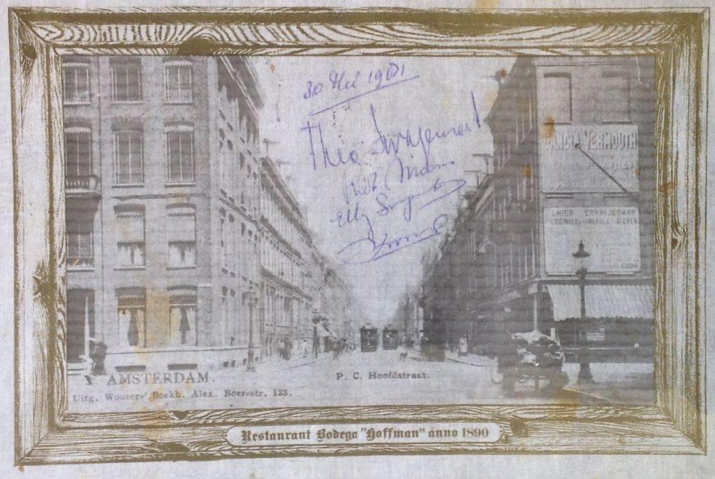 schilderijen te koop , papieren placemat, beeldmaat 29 x 43 cm P.C. Hooftstraat, Restaurant Bodega Hoffman anno 1890 gesigneerd midden in voorstelling Theo Swagemakers en gedateerd 30 mei 1981 met boodschap voor Elly Swagemakers, expositie, galerie wijdemeren breukeleveen