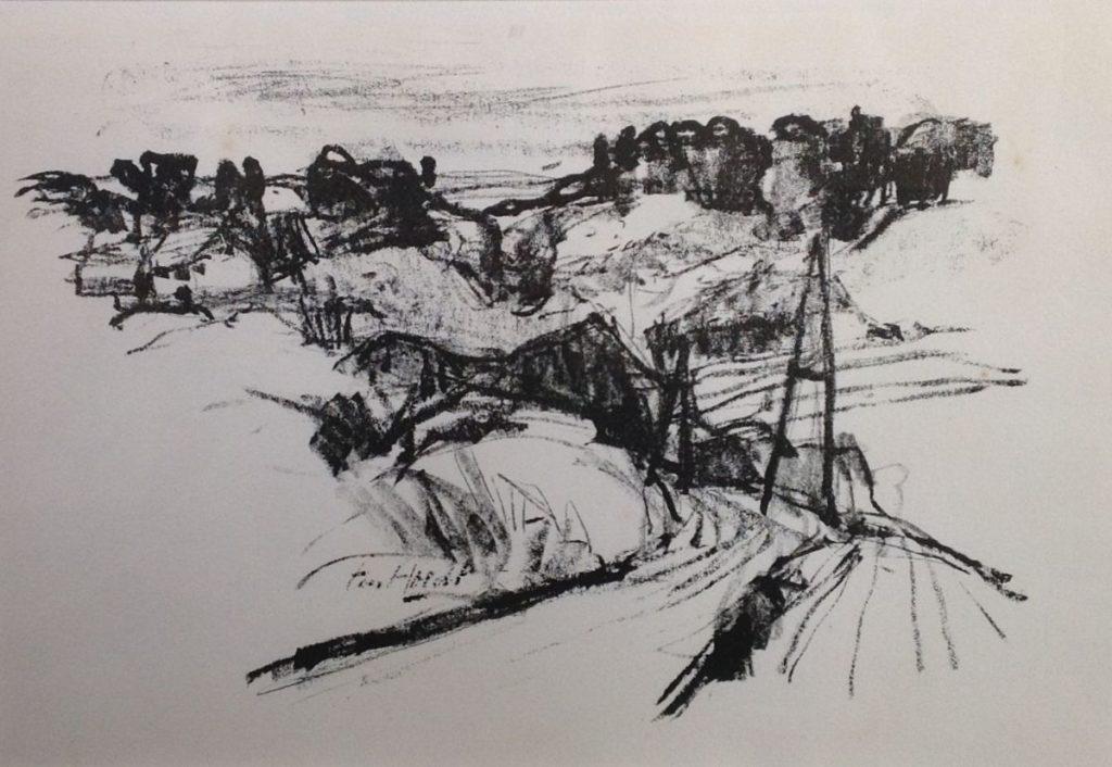 schilderijen te koop Heuvellandschap litho, beeldmaat 21.5 x 31 cm linksonder onduidelijk gesigneerd, expositie, galerie wijdemeren breukeleveen