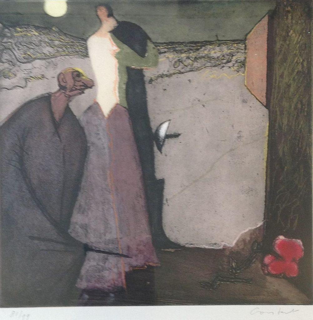 """schilderijen te koop van kunstschilder, Constant De liefdesverklaring van Cyrano 2 Nummer IIuit de seriePlaisir et Tristesse de l'Amour ets/aquatint uit 1979, oplage 81/99, beeldmaat 46 x 46 cm Met potlood gesigneerd """"Constant"""" rechtsonder en genummerd """"81/99"""" linksonder  Literatuur: Philippe Dagen, Trudy van der Horst,"""