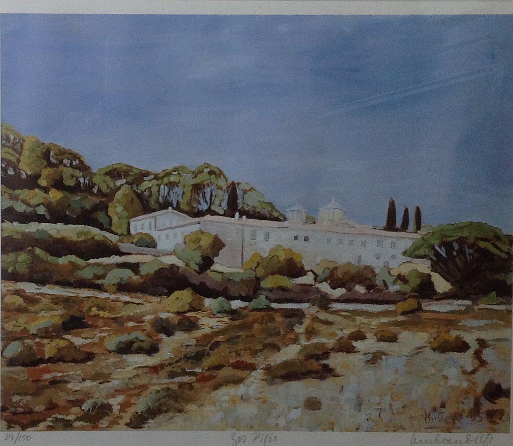 schilderijen te koop van kunstschilder, Henk van Delft Mediterraans landschap met huis zeefdruk van kunstwerk van H van Delft, oplage 29/150 rechtsonder handgesigneerd, beeldmaat 27 x 33 cm, expositie, galerie wijdemeren breukeleveen