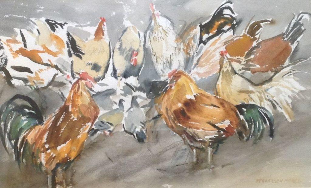 Kunst te koop bij Galerie Wijdemeren van Willem Vaarzon Morel jr. Hanengevecht met kippenpubliek gemengde techniek op papier, beeldmaat 31 x 49 cm rechtsonder gesigneerd