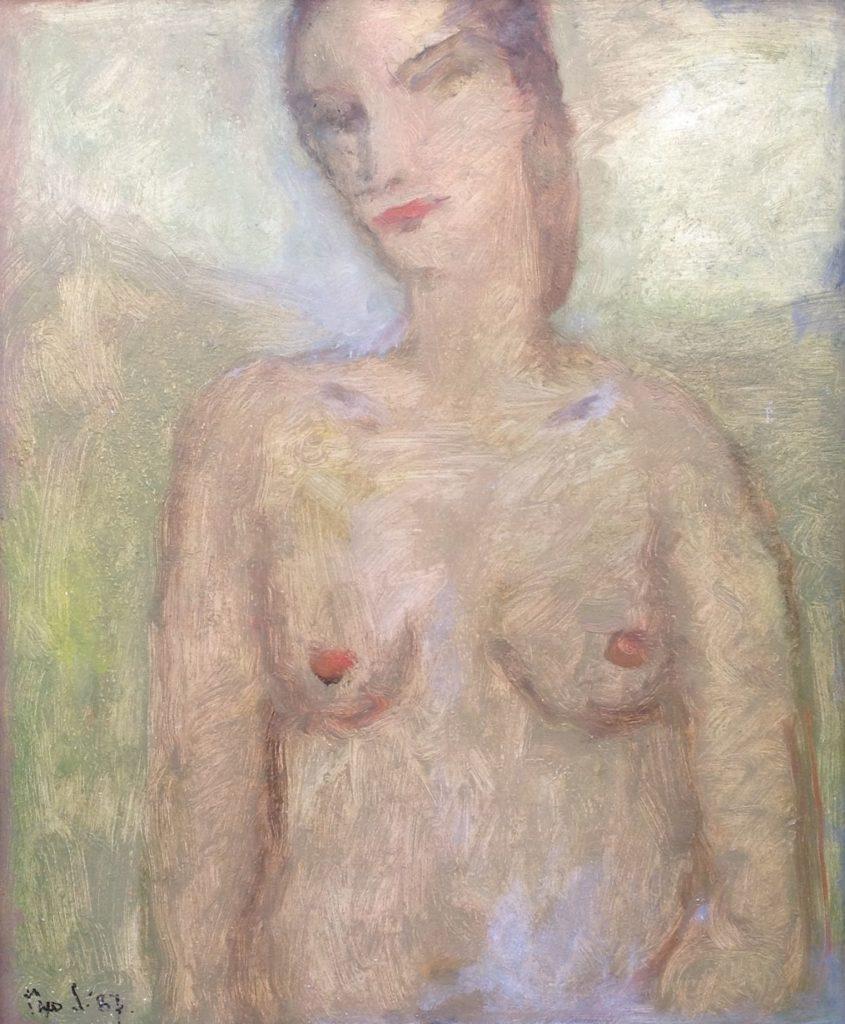 Schilderijen te koop van kunstschilderTheo Swagemakers naakt olie op board, 60 x 50 cm gedateerd 1987, linksonder gesigneerd, Expositie Galerie Wijdemeren Breukeleveen