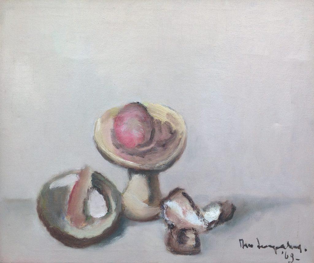 Schilderijen te koop van kunstschilder Theo Swagemakers Stilleven compositie ronde schaal olie op doek, 51 x 60 cm r.o. gesigneerd en gedateerd 69, Expositie Galerie Wijdemeren Breukeleveen