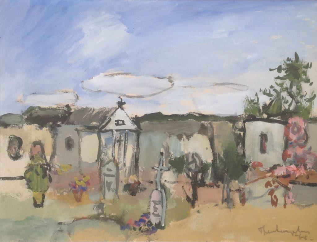 Schilderijen te koop van kunstschilder Swagemakers Corsica aquarel, 38 x 50 cm rechtsonder gesigneerd, gedateerd 1965, Expositie Galerie Wijdemeren Breukeleveen
