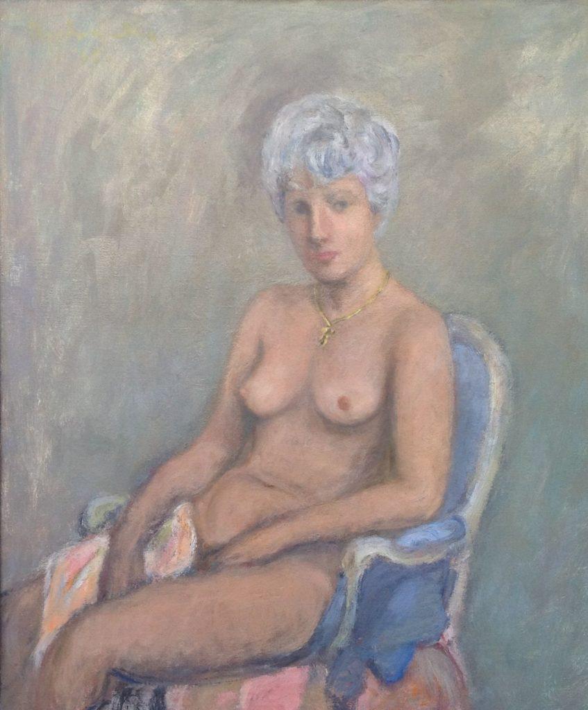 Schilderijen te koop van kunstschilder Theo Swagemakers Zittend naakt, 1965 olie op doek, 65 x 55 cm ongesigneerd, Expositie Galerie Wijdemeren Breukeleveen