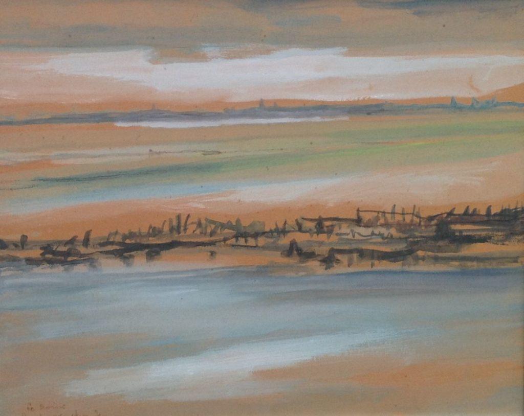 Schilderijen te koop van kunstschilder Theo Swagemakers La Croisie, Frankrijk 1971 gouache, beeldmaat 53 x 48 linksonder gesigneerd, Expositie Galerie Wijdemeren Breukeleveen