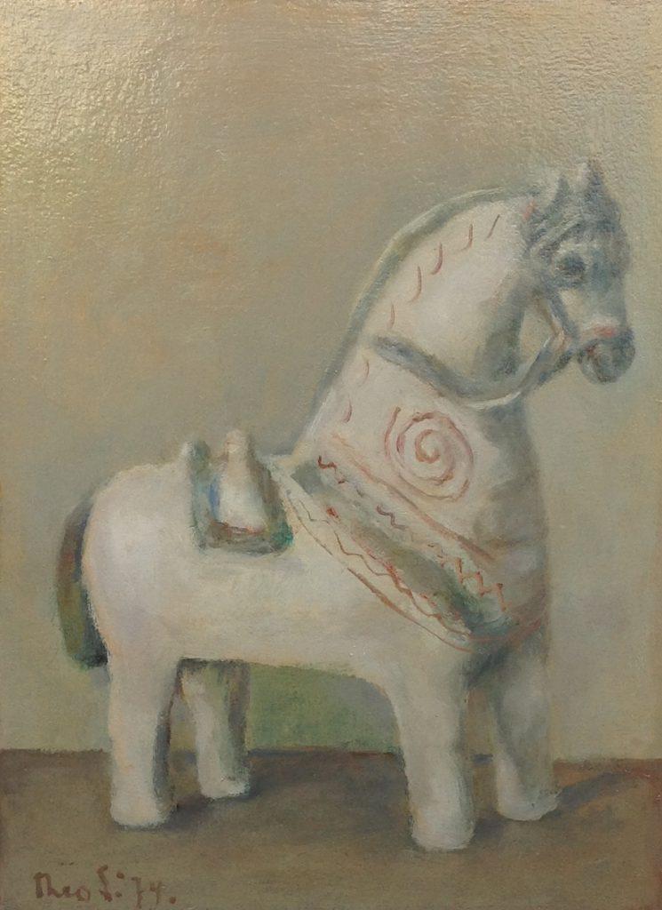 Schilderijen te koop van kunstschilder Theo Swagemakers Paardje olie op board, 30 x 40 cm linksonder gesigneerd en gedateerd 1974, Expositie Galerie Wijdemeren Breukeleveen