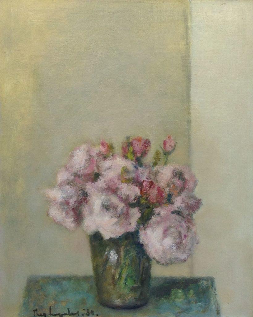 Schilderijen te koop van kunstschilder Theo Swagemakers Bloemstilleven olie op doek, 55 x 45 cm linksonder gesigneerd en gedateerd 1980, Expositie Galerie Wijdemeren Breukeleveen