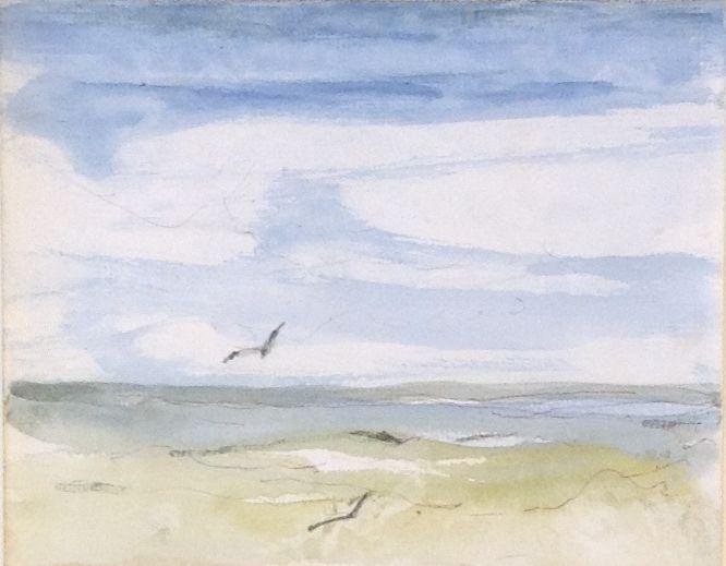Schilderijen te koop van kunstschilderSwagemakers Zee strand en meeuwen aquarel, 16 x 13 cm, Expositie Galerie Wijdemeren Breukeleveen