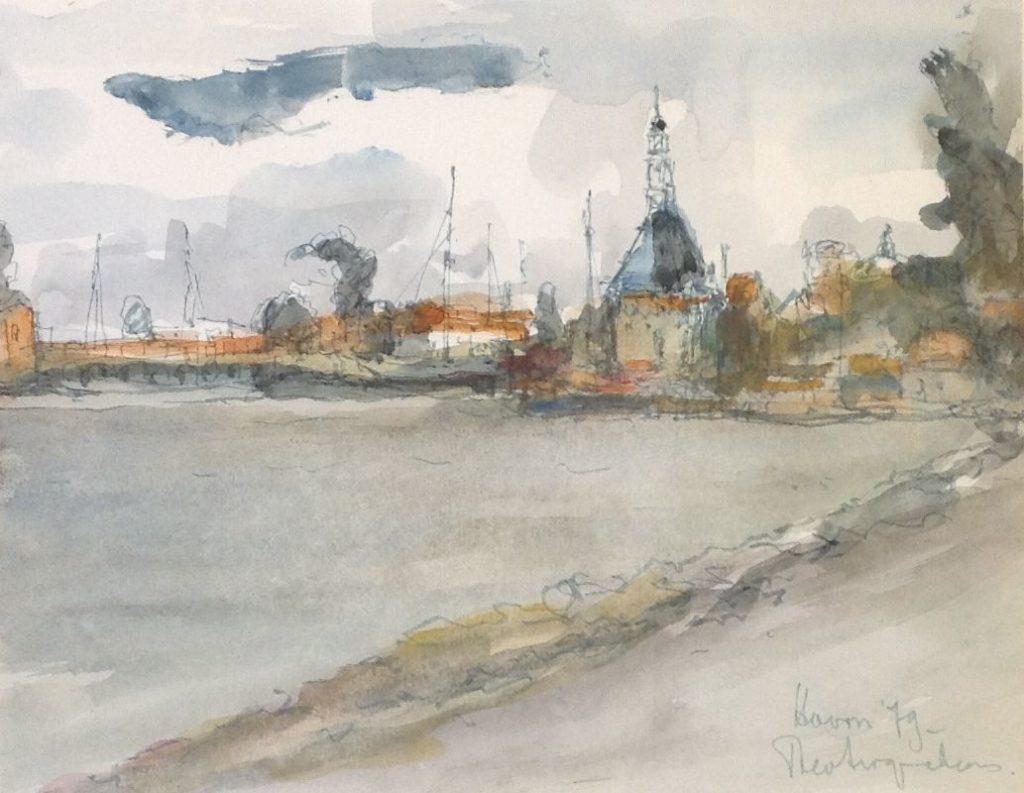 Schilderijen te koop van kunstschilder Theo Swagemakers Havengezicht Hoorn aquarel, 36 x 24 cm rechtsonder gesigneerd en gedateerd 1978, Expositie Galerie Wijdemeren Breukeleveen