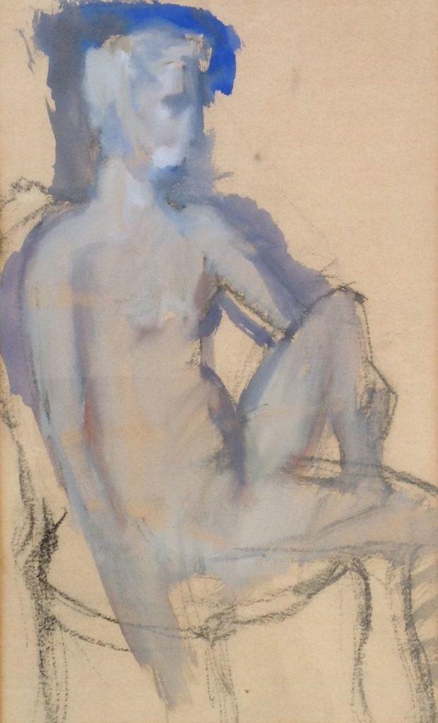 Schilderijen te koop van kunstschilder Theo Swagemakers Naakt gouache, 34 x 38 cm ongesigneerd, Expositie Galerie Wijdemeren Breukeleveen