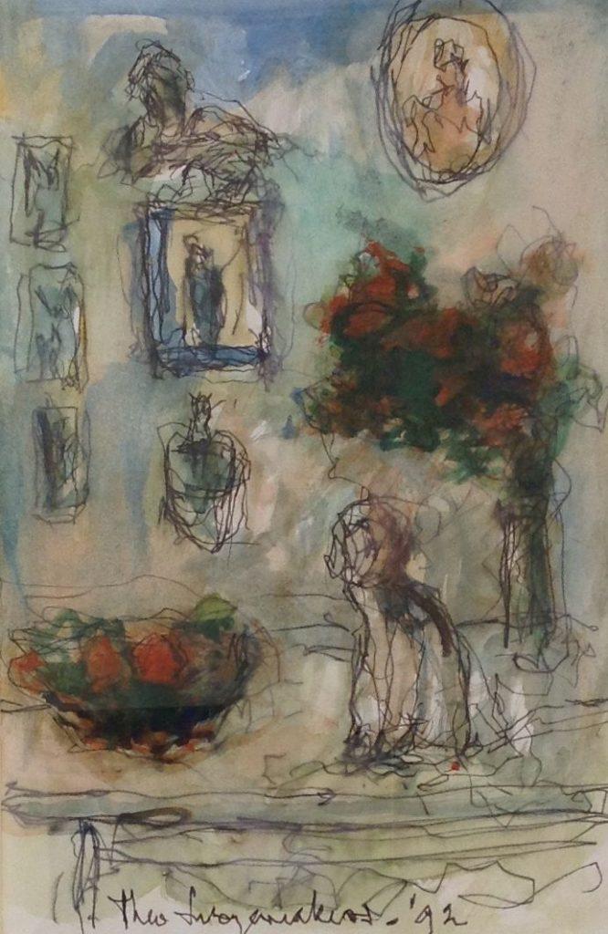 Schilderijen te koop van kunstschilder Theo Swagemakers Interieur met hond aquarel, 17 x 26 cm midden onder gesigneerd en gedateerd 1992, Expositie Galerie Wijdemeren Breukeleveen