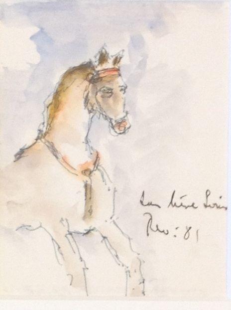 Schilderijen te koop van kunstschilder Theo Swagemakers Paardje 'Aan lieve Louis' aquarel, 11 x 15 cm rechtsonder gesigneerd en gedateerd 1981, Expositie Galerie Wijdemeren Breukeleveen