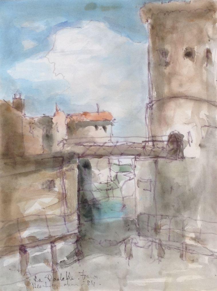 Schilderijen te koop van kunstschilder Swagemakers La Rochelle France aquarel, 27 x 30 cm rechtsonder gesigneerd, gedateerd 1984, Expositie Galerie Wijdemeren Breukeleveen