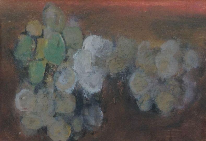 Schilderijen te koop van kunstschilder Theo Swagemakers Stilleven met druiven olie op board, 24 x 16 cm rechtsonder gesigneerd en gedateerd 1970, Expositie Galerie Wijdemeren Breukeleveen