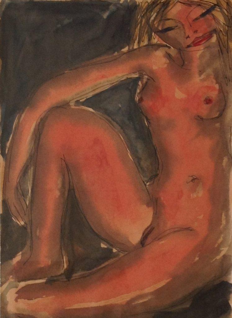Schilderijen te koop van kunstschilder Theo Swagemakers Rood naakt aquarel, 21 x 29 cm rechtsonder gesigneerd en gedateerd 1955, Expositie Galerie Wijdemeren Breukeleveen