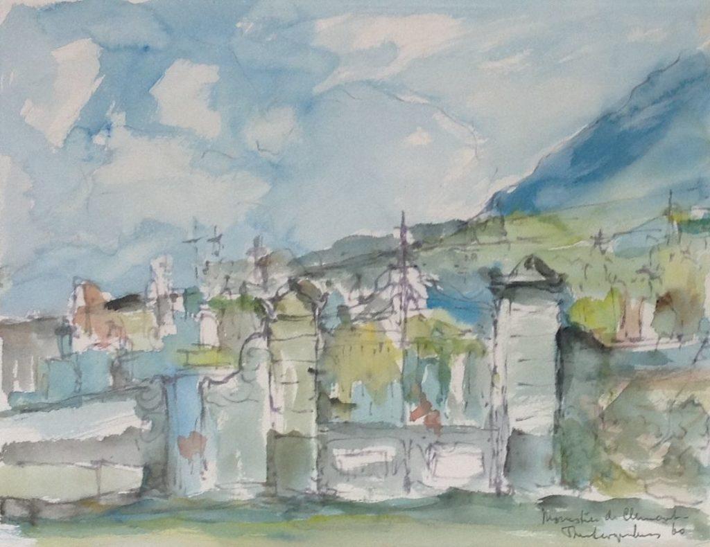Schilderijen te koop, kunstschilder Theo Swagemakers Monestier de Clermont France, 1960 aquarel, beeldmaat 30 x 28 cm rechtsonder gesigneerd, Expositie Galerie Wijdemeren Breukeleveen