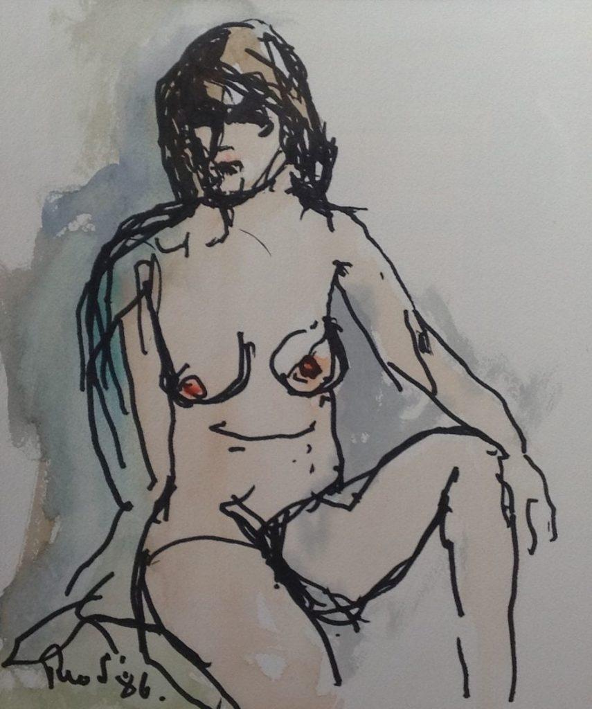 Schilderijen te koop van kunstschilder Swagemakers Naakt aquarel, 22 x 26 cm linksonder gesigneerd, gedateerd 86, Expositie Galerie Wijdemeren Breukeleveen