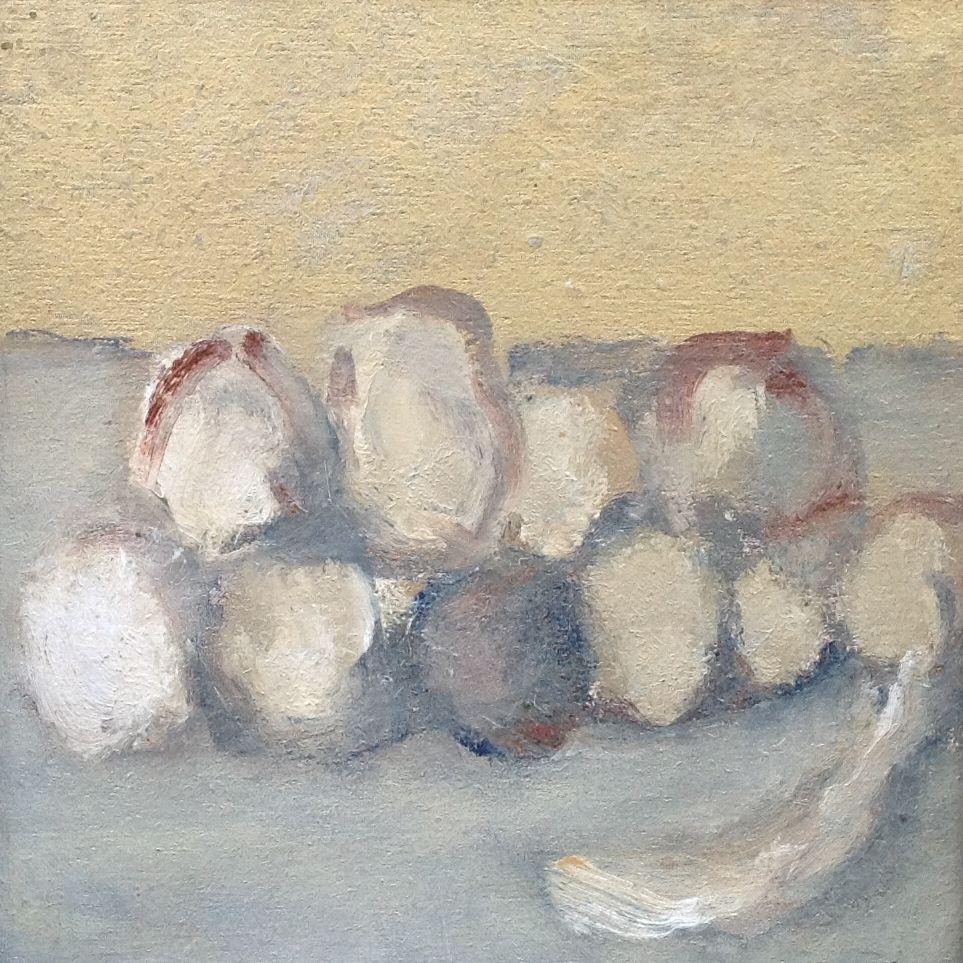 Schilderijen te koop van kunstschilder Swagemakers Stilleven met aardappels maroufle, 20 x 20 cm, Expositie Galerie Wijdemeren Breukeleveen