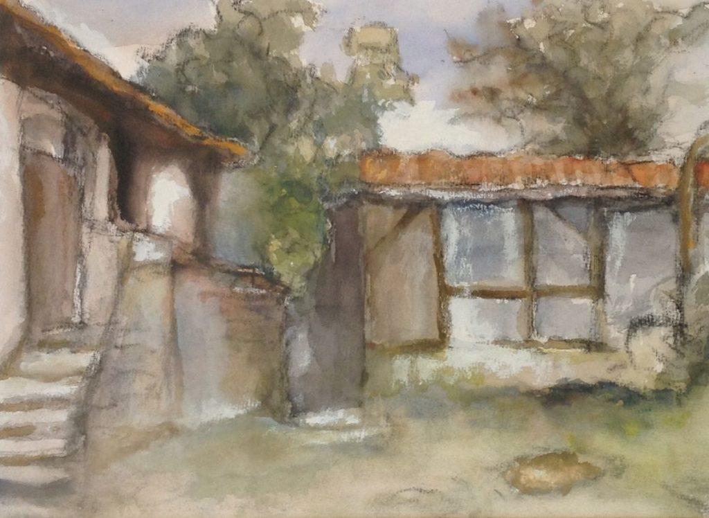 Schilderijen te koop van kunstschilder Theo Swagemakers Huisje met trap en schuur aquarel, 38 x 28 cm gedateerd 1985, Expositie Galerie Wijdemeren Breukeleveen