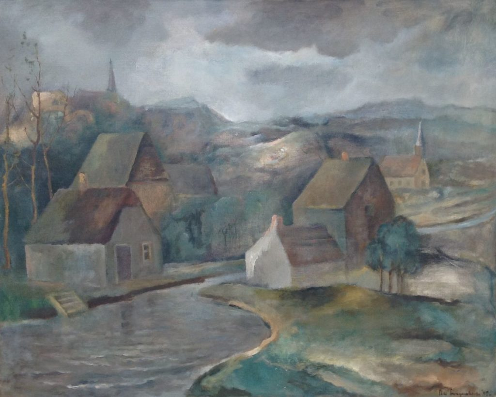 Schilderijen te koop van kunstschilderSwagemakers Landschap met rivier en boerderijen olie op doek, 65 x 81 cm, Expositie Galerie Wijdemeren Breukeleveen