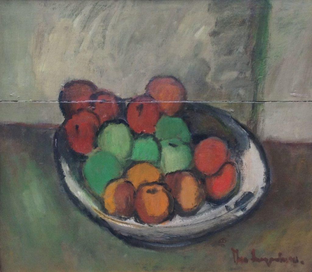 Schilderijen te koop van kunstschilder Swagemakers Stilleven met fruit olie op paneel, 84 x 58 cm rechtsonder gesigneerd en gedateerd 1965, Expositie Galerie Wijdemeren Breukeleveen
