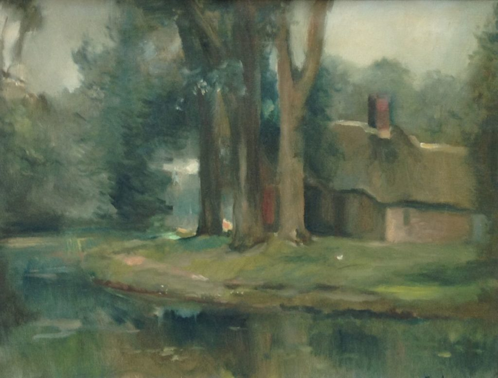 Schilderijen te koop van kunstschilder Swagemakers Groen landschap olie op doek, 51 x 65 cm, Expositie Galerie Wijdemeren Breukeleveen