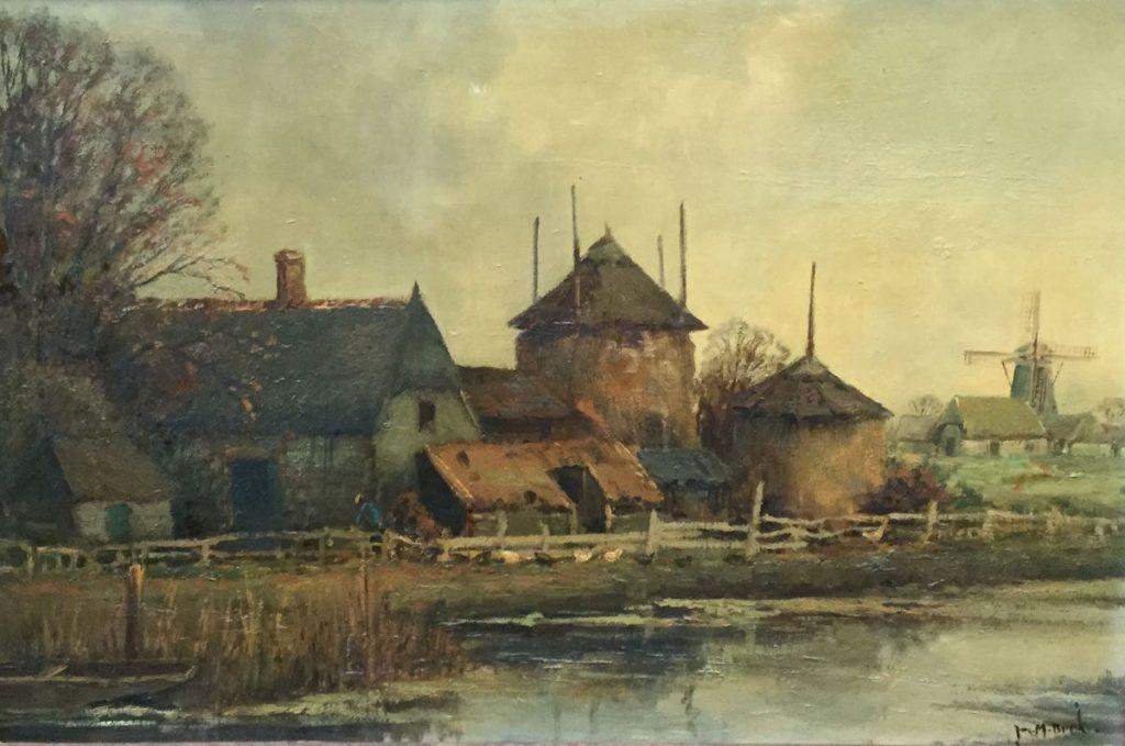 Kunst te koop bij Galerie Wijdemeren van Juriaen Marinus van Beek Boerderijgezicht met molen langs de vaart olie op doek, doekmaat 40 x 60.5 cm rechtsonder gesigneerd