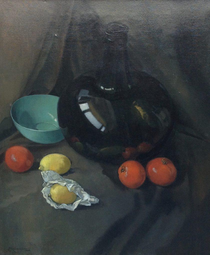 Schilderijen te koop van kunstschilder JH Kaemerer Stilleven met fruit olie op doek, gesigneerd, Expositie Galerie Wijdemeren Breukeleveen