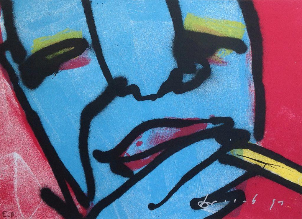 Kunstenaar Herman Brood B2790, Herman Brood Kleurenlitho 57,5 x 76 cm
