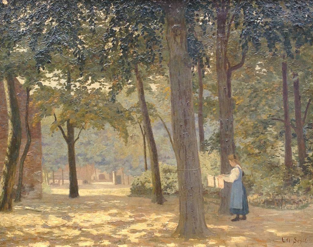 Schilderijen te koop van kunstschilder LA Schilt, bosgezicht, Expositie Galerie Wijdemeren Breukeleveen