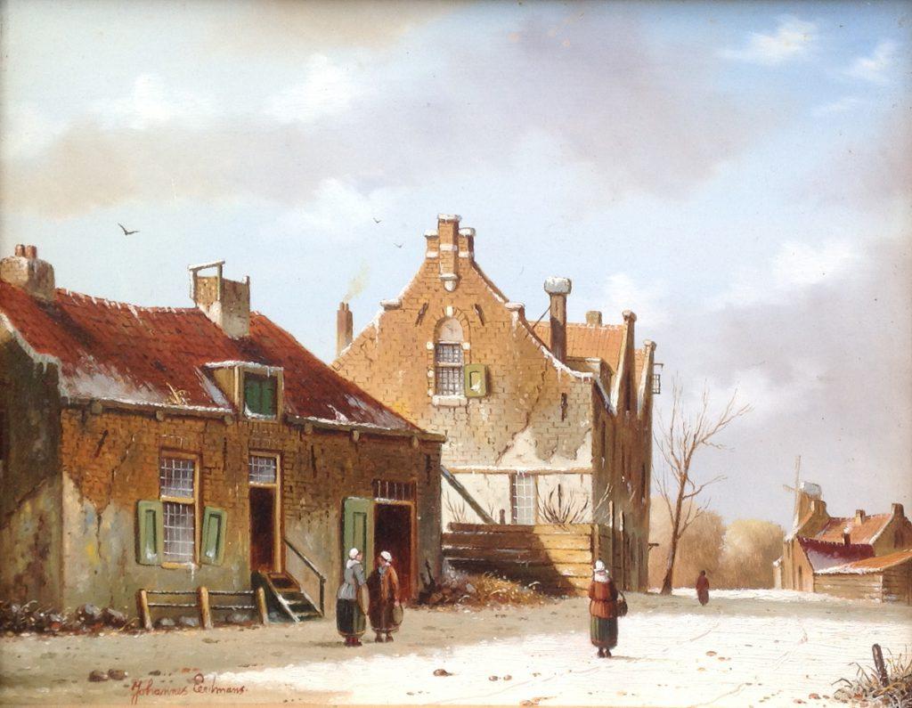 Kunstenaar Johannes Eerdmans Johannes Eerdmans Winters Stadsgezicht olie op paneel, gesigneerd verkocht