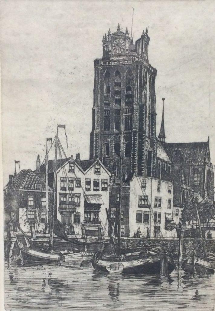 schilderijen te koop van kunstschilder, Marius Jansen Dom te Dordrecht ets, beeldmaat 36 x 24.5 cm rechtsonder handgesigneerd, expositie, galerie wijdemeren breukeleveen
