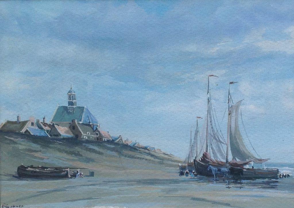 Kunstenaar Frits J. Goosen nr. B37-2 en 4 F.J. Goosen aquarel, beeldmaat 23 x 17 cm particuliere collectie