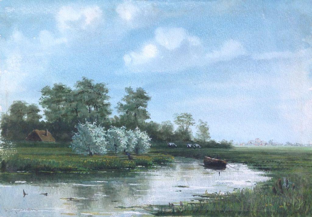 Kunstenaar Frits J. Goosen B38-1 en -2, F.J. Goosen aquarel 17 x 24 cm particuliere collectie