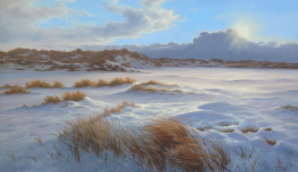 Kunstenaar Ron Meilof C4467 Ron Meilof Wintergezicht olie op doek, 40 x 70 cm r.o. gesigneerd, particuliere collectie