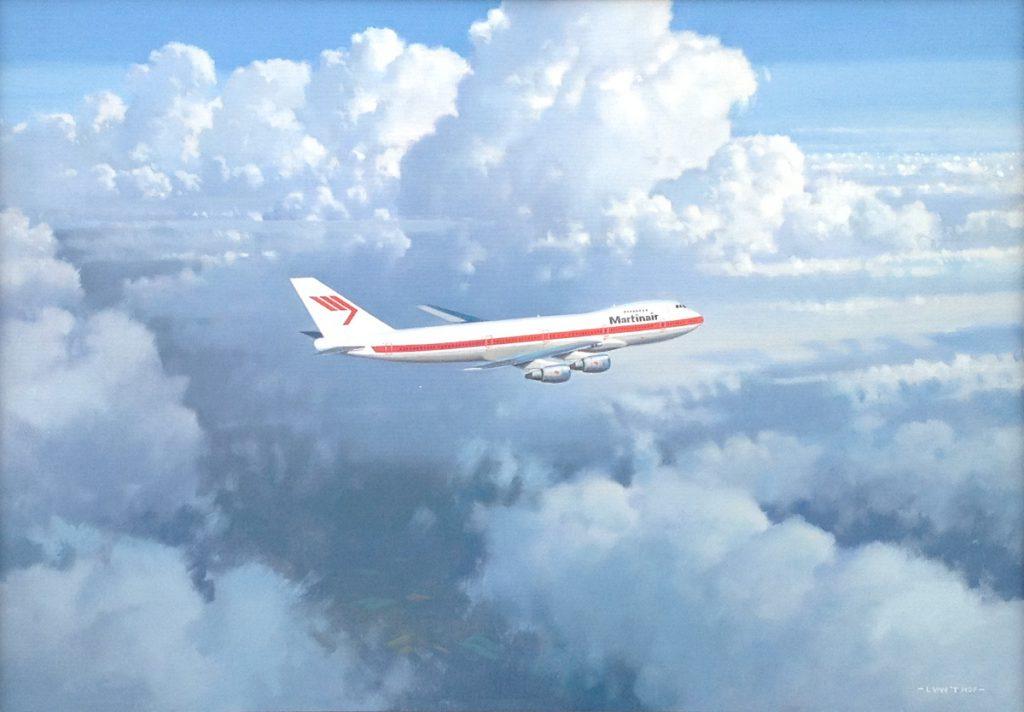 Kunstenaar Lam van 't Hof B442, Lam van 't Hof Martinair vliegtuig olie op board, 50 x 70 cm