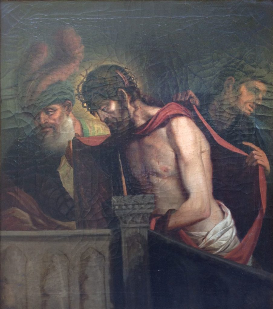 Kunst te koop bij Galerie Wijdemeren, Religieuze voorstelling olie op doek, 74 x 65 cm