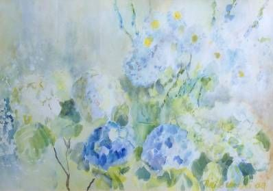 Kunstenaar Piet Brandjes B453 1-3, Piet Brandjes Bloemen Aquarel, 45 x 66 cm