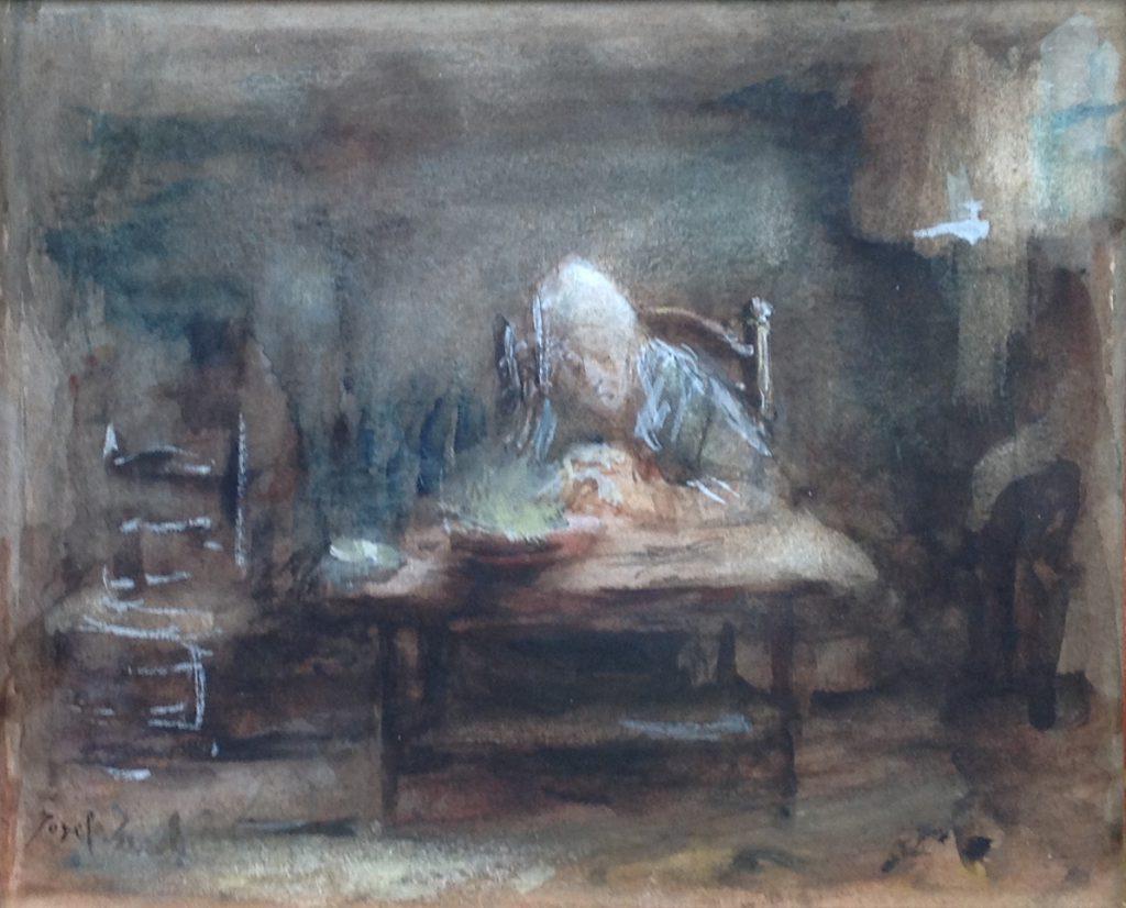 Kunstenaar Jozef Israels B500, Jozef Israels Boerin in keuken aquarel, 23 x 20 cm l.o. gesigneerd