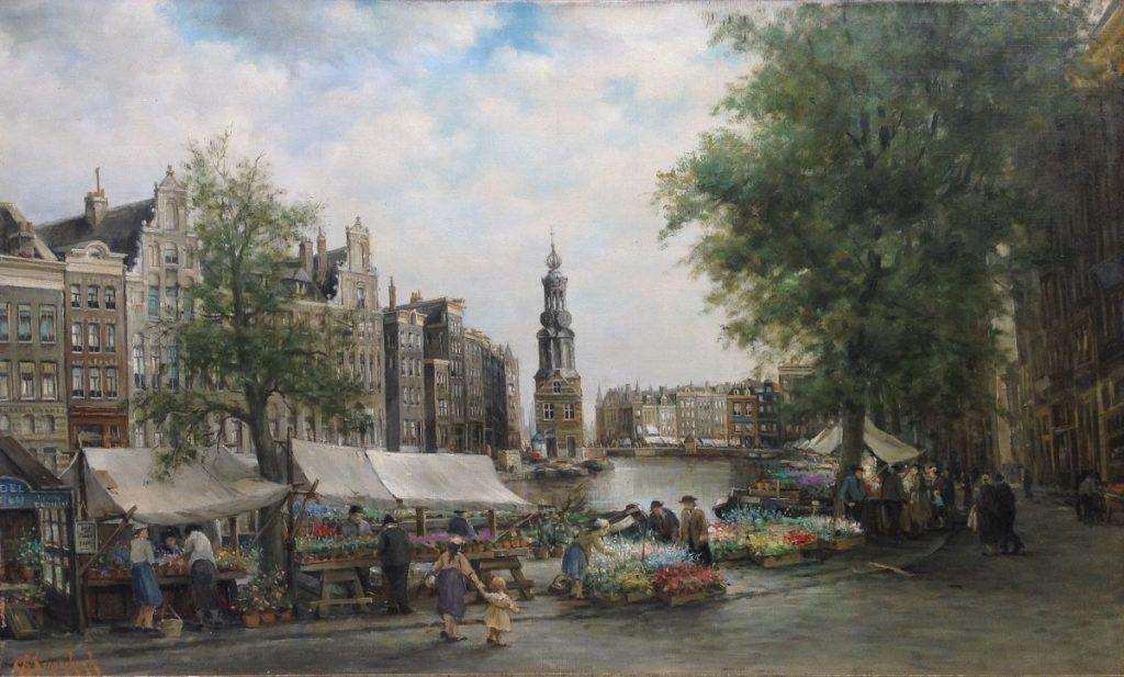 Kunstenaar Carl August Streefkerk B505 C.A. Streefkerk Bloemenmarkt Amsterdam olie op doek, doekmaat 100 x 60 cm rechtsonder gesigneerd verkocht
