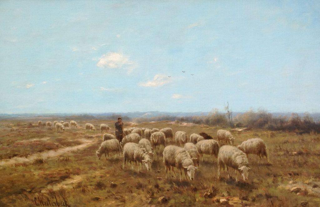 Kunstenaar Cornelis Westerbeek B512 Cornelis Westerbeek Schaapsherder met schaapskudde op de heide olie op doek 50 x 76 cm l.o. gesigneerd verkocht