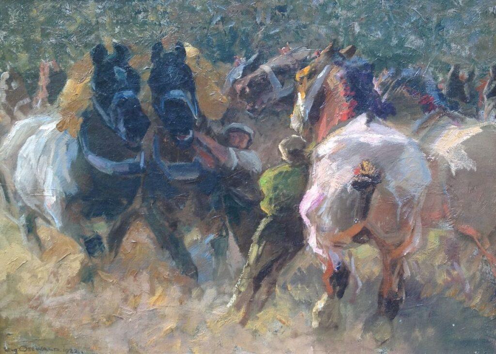 Kunstenaar Eugen Osswald B608, Eugen Osswald Olie op doek, 52x70 cm