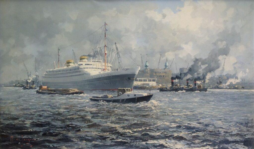 Schilderijen te koop van kunstschilder Marius de Jongere Haven Rotterdam olie op doek, gesigneerd, Expositie Galerie Wijdemeren Breukeleveen