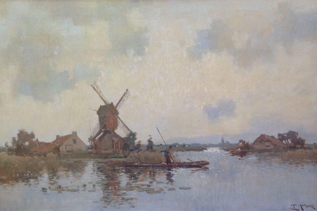 schilderijen te koop van kunstschilder, Jan Knikker Polderlandschap met molen olie op doek, gesigneerd, expositie, galerie wijdemeren breukeleveen
