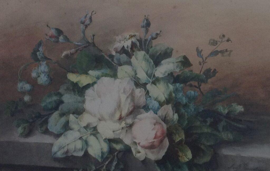 Kunstenaar Margaretha C.J.W. Roosenboom B640, Margaretha Roosenboom Rozen stilleven aquarel verkocht