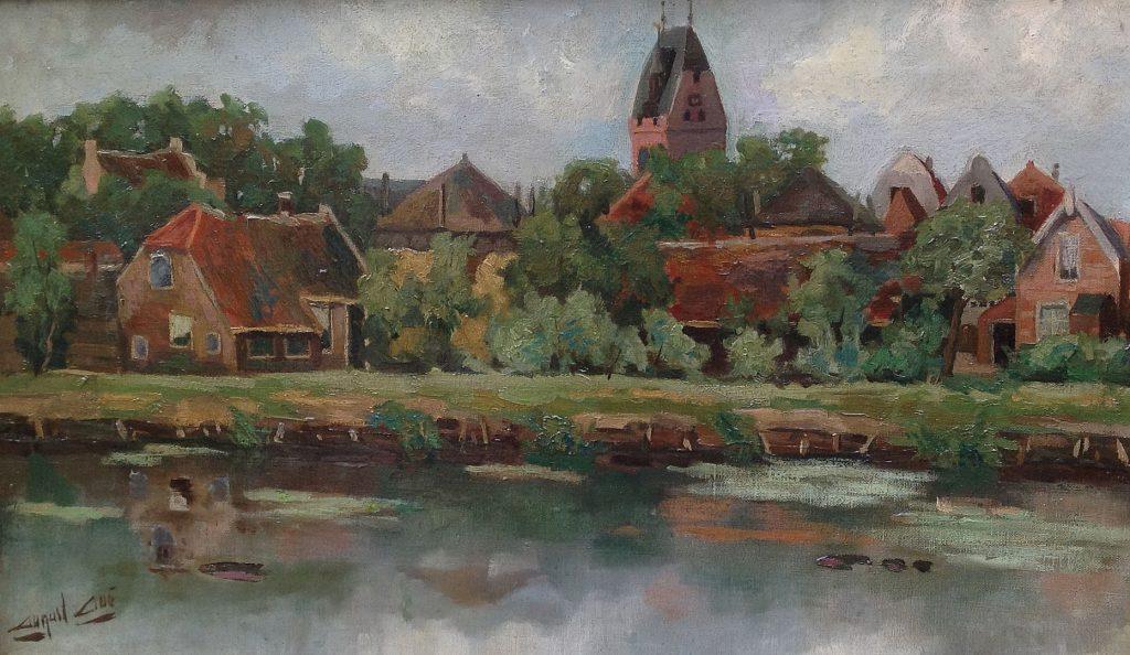 Kunstenaar August Aué B683 August Aué Oudewater Olie op doek, 30 x 50 cm verkocht
