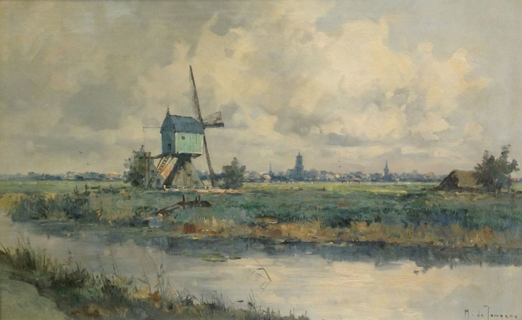 Schilderijen te koop van kunstschilder Marius de Jongere landschap met molen Olie op doek, 50 x 80 cm gesigneerd rechtsonder, Expositie Galerie Wijdemeren Breukeleveen