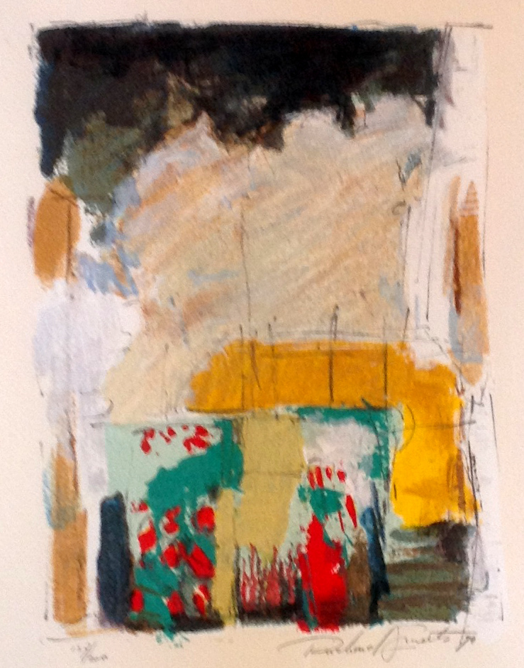 Kunstenaar Richard Smeets B73, Richard Smeets Abstracte voorstelling aquarel, 35 x 28 cm