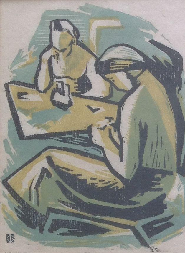Kunstenaar Cornelis Johannes Basart B781W Cor Basart Twee Vrouwen Houtsnede, Nr°12 van 25 gedateerd 1957 verkocht